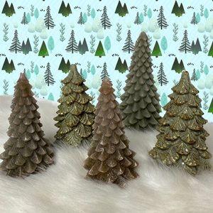 Lot of 5 Wax Candle Christmas Trees Winter Holiday
